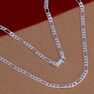 925 Sterling Silver Flat Chain Link Necklace 4 MM